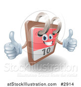 Vector Illustration of a 3d Happy Desk Calendar Holding Two Thumbs up by AtStockIllustration