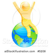Vector Illustration of a 3d Happy Gold Man Sitting and Cheering on Planet Earth by AtStockIllustration