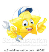Vector Illustration of a 3d Happy Golden Mechanic Star Emoji Emoticon Character Wearing a Hat, Giving a Thumb up and Holding a Wrench by AtStockIllustration