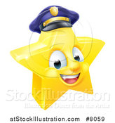 Vector Illustration of a 3d Happy Golden Police Office Star Emoji Emoticon Character Wearing a Hat by AtStockIllustration
