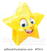 Vector Illustration of a 3d Happy Golden Star Emoji Emoticon Character by AtStockIllustration