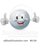 Vector Illustration of a 3d Happy Golf Ball Mascot Holding Two Thumbs up by AtStockIllustration