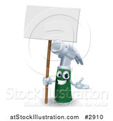 Vector Illustration of a 3d Happy Green and Silver Hammer Mascot Holding a Sign by AtStockIllustration