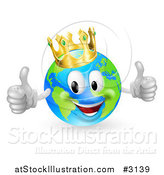 Vector Illustration of a 3d Happy King of the World Globe Holding Two Thumbs up by AtStockIllustration