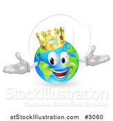 Vector Illustration of a 3d Happy King of the World Globe Wearing a Crown by AtStockIllustration