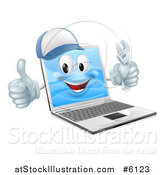 Vector Illustration of a 3d Happy Laptop Computer Repair Character Holding a Wrench and Thumb up by AtStockIllustration
