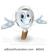 Vector Illustration of a 3d Happy Magnifying Glass Mascot with Open Arms by AtStockIllustration