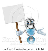 Vector Illustration of a 3d Happy Microphone Mascot Holding a Sign by AtStockIllustration