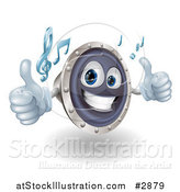 Vector Illustration of a 3d Happy Music Speaker Mascot Holding Two Thumbs up and Playing Tunes by AtStockIllustration