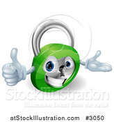 Vector Illustration of a 3d Happy Padlock Holding a Thumb up by AtStockIllustration