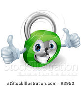 Vector Illustration of a 3d Happy Padlock with Two Thumbs up by AtStockIllustration