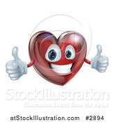 Vector Illustration of a 3d Happy Red Heart Holding Two Thumbs up by AtStockIllustration