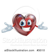 Vector Illustration of a 3d Happy Red Heart with Open Arms by AtStockIllustration