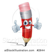 Vector Illustration of a 3d Happy Red Pencil Holding Two Thumbs up by AtStockIllustration