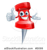 Vector Illustration of a 3d Happy Red Push Pin Mascot Holding a Thumb up by AtStockIllustration