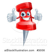 Vector Illustration of a 3d Happy Red Push Pin Mascot Holding Two Thumbs up by AtStockIllustration