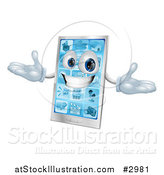 Vector Illustration of a 3d Happy Silver Touch Screen Smart Cell Phone by AtStockIllustration