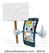 Vector Illustration of a 3d Happy Silver Touch Screen Smart Cell Phone Holding a Thumb up and Sign by AtStockIllustration