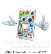 Vector Illustration of a 3d Happy Smart Cell Phone Mascot Holding a Thumb up by AtStockIllustration