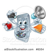 Vector Illustration of a 3d Happy Smart Phone Character Multitasking with a Megaphone, Books, Gamer Controller, Heart, and Camera by AtStockIllustration