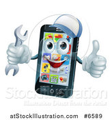 Vector Illustration of a 3d Happy Smart Phone Character Wearing a Baseball Cap, Holding a Thumb up and a Wrench by AtStockIllustration