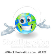 Vector Illustration of a 3d Happy Smiling Globe Mascot Gesturing with His Hands by AtStockIllustration