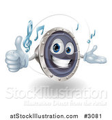 Vector Illustration of a 3d Happy Speaker Mascot Holding a Thumb up and Playing Tunes by AtStockIllustration