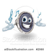 Vector Illustration of a 3d Happy Speaker Mascot Playing Music by AtStockIllustration
