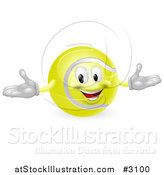 Vector Illustration of a 3d Happy Tennis Ball Mascot by AtStockIllustration