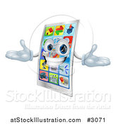 Vector Illustration of a 3d Happy Touch Screen Cell Phone Mascot by AtStockIllustration