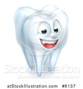 Vector Illustration of a 3d Happy White Tooth Character by AtStockIllustration