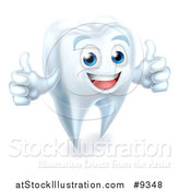 Vector Illustration of a 3d Happy White Tooth Character Giving Two Thumbs up by AtStockIllustration