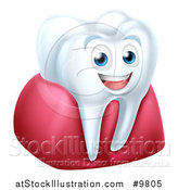 Vector Illustration of a 3d Happy White Tooth Character in Gums by AtStockIllustration
