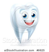 Vector Illustration of a 3d Happy White Tooth Character Smiling by AtStockIllustration