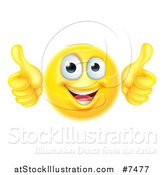 Vector Illustration of a 3d Happy Yellow Smiley Emoji Emoticon Face Giving Two Thumbs up by AtStockIllustration