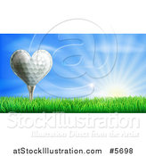 Vector Illustration of a 3d Heart Golf Ball on a Tee over a Sunrise by AtStockIllustration
