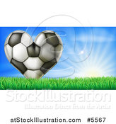 Vector Illustration of a 3d Heart Soccer Ball in Grass over Sunshine by AtStockIllustration