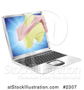 Vector Illustration of a 3d Home Emerging from a Laptop by AtStockIllustration
