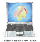 Vector Illustration of a 3d Home Icon Emerging from a Laptop Computer by AtStockIllustration