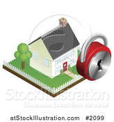 Vector Illustration of a 3d Home Security Padlock over a Fenced Yard and Home by AtStockIllustration