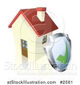 Vector Illustration of a 3d Home Security Shield Against a House by AtStockIllustration