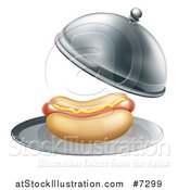 Vector Illustration of a 3d Hot Dog Being Served in a Cloche Platter by AtStockIllustration