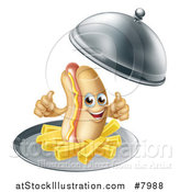 Vector Illustration of a 3d Hot Dog Character Giving a Thumb Up, with a Side of French Fries Being Served in a Cloche Platter by AtStockIllustration
