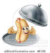Vector Illustration of a 3d Hot Dog Character Giving Two Thumbs up and Being Served in a Cloche Platter by AtStockIllustration