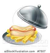 Vector Illustration of a 3d Hot Dog with a Side of French Fries Being Served in a Cloche Platter by AtStockIllustration