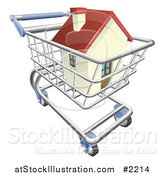 Vector Illustration of a 3d House in a Shopping Cart by AtStockIllustration