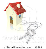 Vector Illustration of a 3d House with Keys Attached by AtStockIllustration