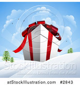 Vector Illustration of a 3d Huge Christmas Gift Box in a Winter Landscape with Snow and Sunshine by AtStockIllustration