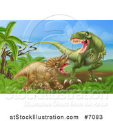 Vector Illustration of a 3d Hungry Tyrannosaurus Rex Dinosaur Attacking a Triceratops by AtStockIllustration
