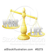 Vector Illustration of a 3d Imbalanced Golden Scales with Work and Life Equally by AtStockIllustration